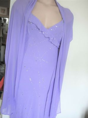 BNWT LADIES LILAC CHIFFON DRESS & MATCHING SHAWL SILVER SPARKLE AFTER SIX 14
